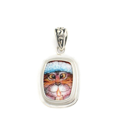 Broken China Jewelry Kitty Cat V Orange Striped Cat with Candle Sterling Rectangle Pendant