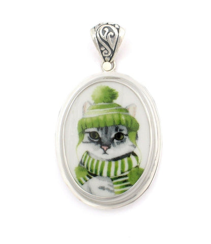 Broken China Jewelry Gray Grey Striped Winter Cat in Green Hat & Scarf Sterling Oval Pendant