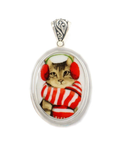 Broken China Jewelry Tabby Winter Cat in Red and White Scarf Sterling Oval Pendant