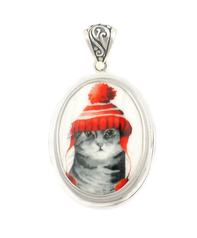 Broken China Jewelry Gray Grey Striped Winter Cat in Red Hat Sterling Oval Pendant