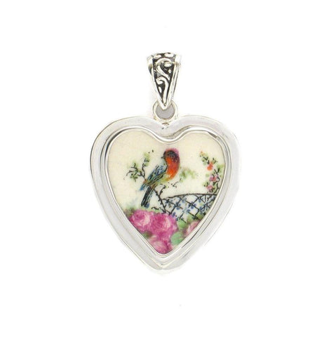 Broken China Jewelry Vintage Robin Bird with Pink Roses Sterling Heart Pendant