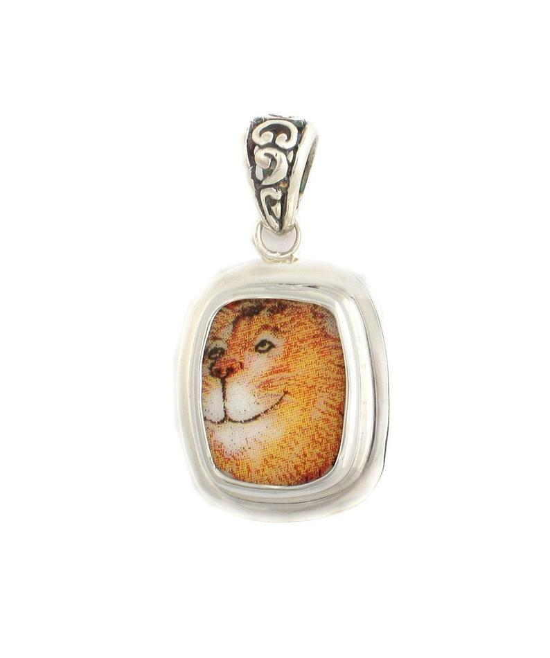 Broken China Jewelry Kitty Cat X Big Orange Cat Smiling Sterling Rectangle Pendant