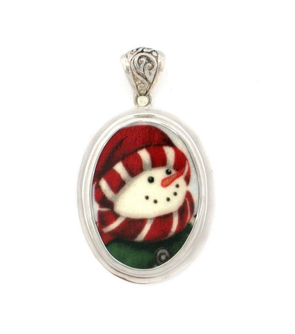 Broken China Jewelry Winter Christmas Peppermint Snowman Sterling Pendant