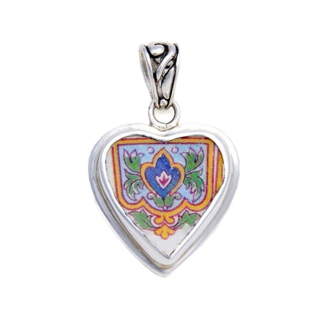 Broken China Jewelry Art Deco Crest Sterling Silver Pendant