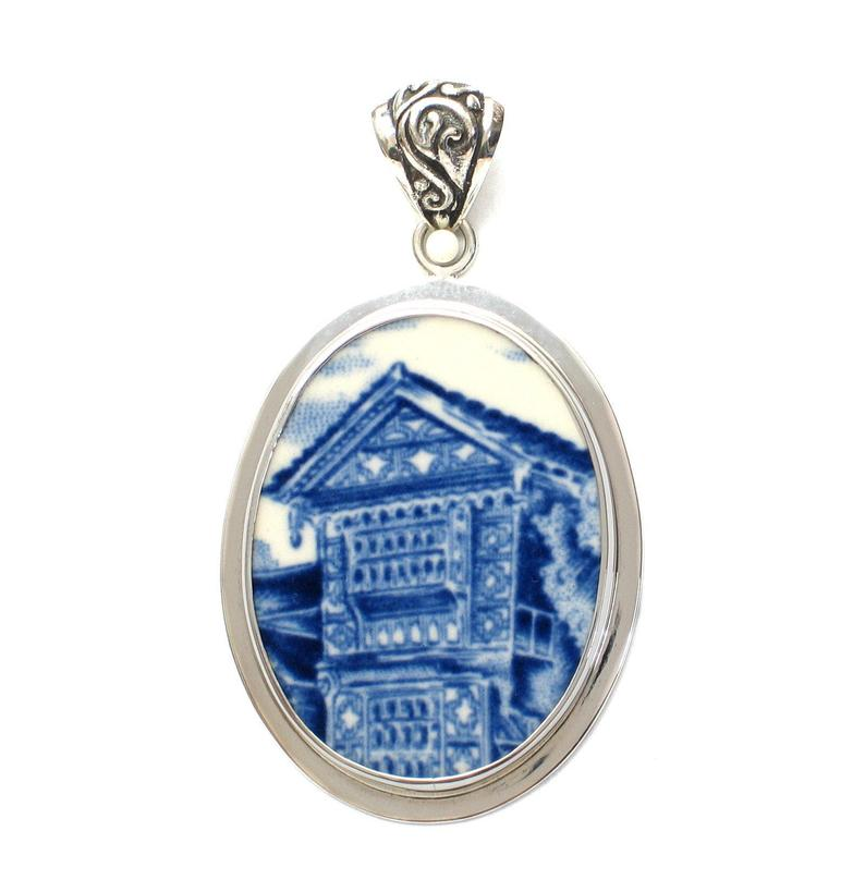 Broken China Jewelry Wedgwood Romantic England Blue Stately Home Front Sterling Oval Pendant