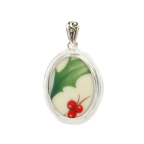 Broken China Jewelry Winter Christmas Holiday Holly Sterling Oval Pendant