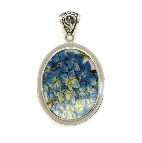 Broken China Jewelry Portmeirion Botanic Garden Blue Hydrangea Sterling Oval Pendant