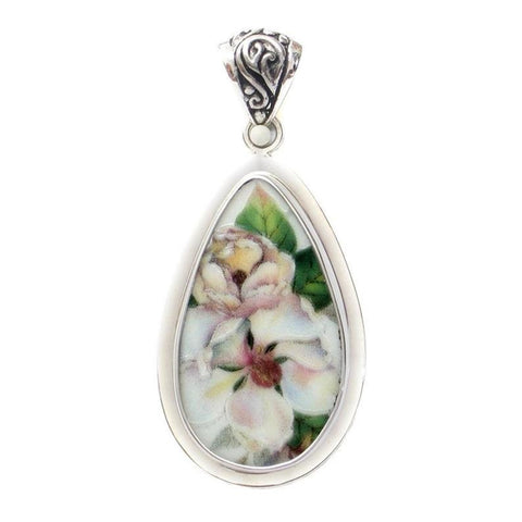 Broken China Jewelry Magnolia Flower Sterling Drop Pendant