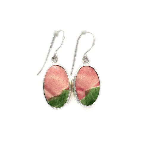 Broken China Jewelry Franciscan Desert Rose Pink Rose Flower Sterling Dangle Earrings