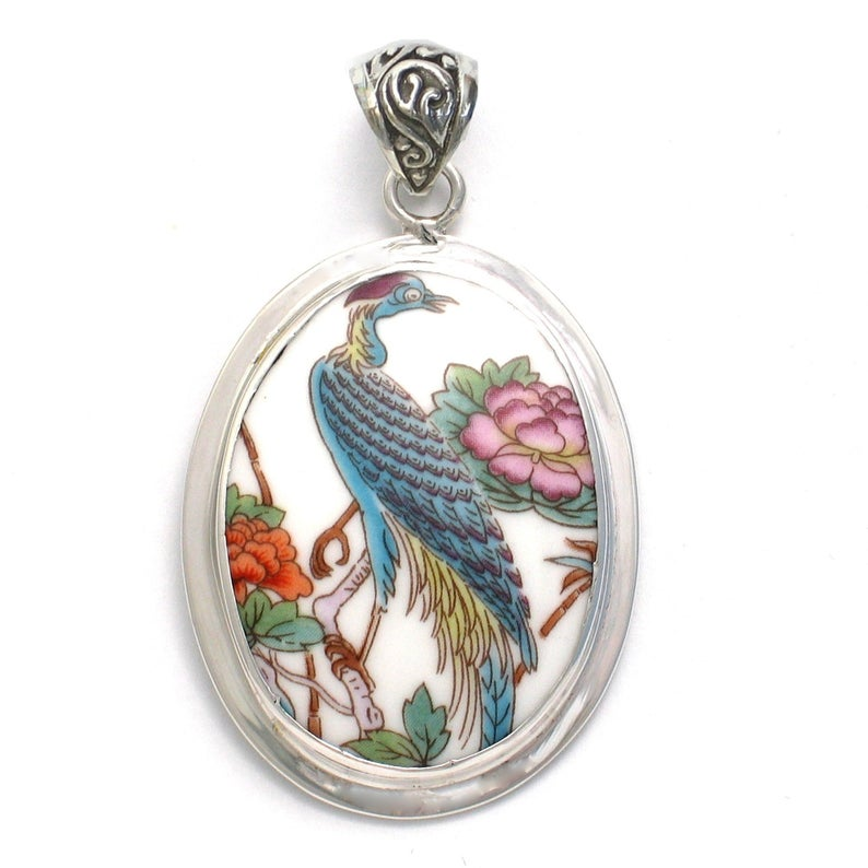 Broken China Jewelry Wedgwood Kutani Crane Bird Sterling Pendant