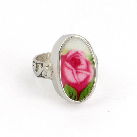 SIZE 10 Broken China Jewelry Old Country Roses Pink Rose Tall Oval Sterling Ring