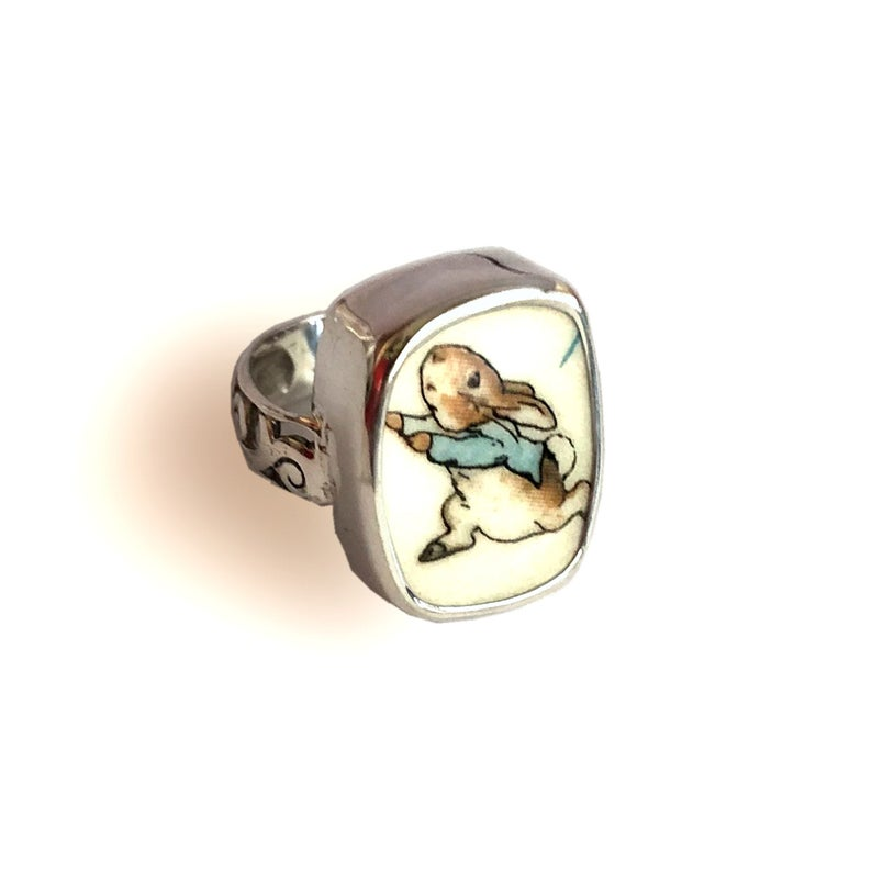 Broken China Jewelry Beatrix Potter Peter Rabbit Running Sterling Ring