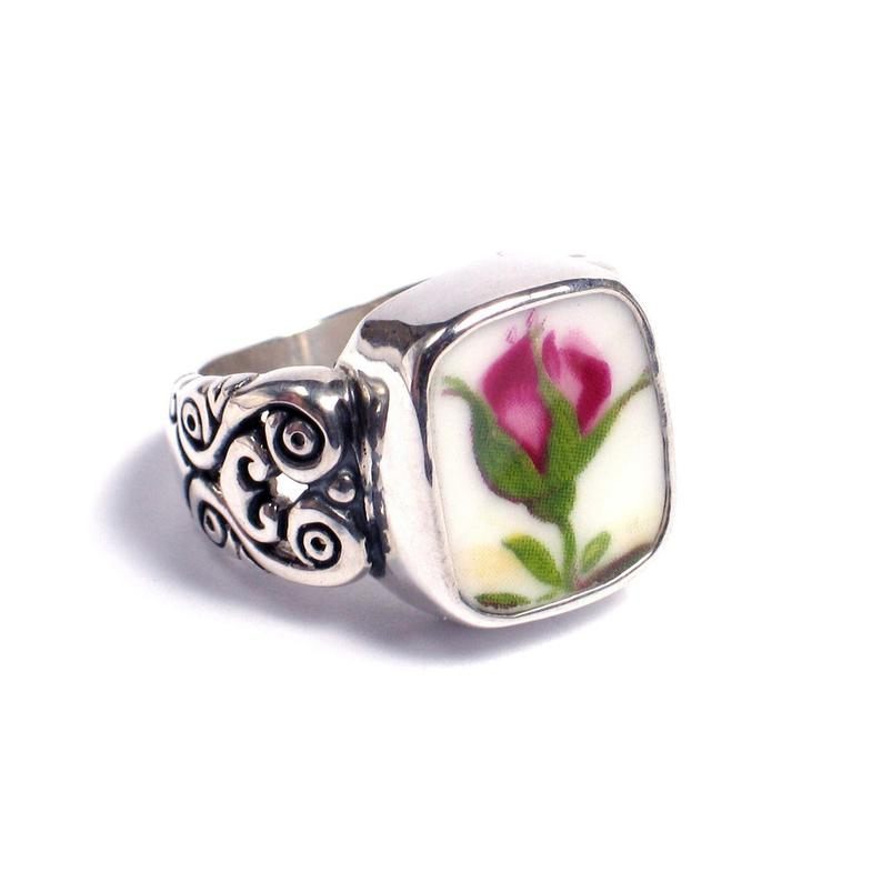 SIZE 7 Broken China Jewelry Old Country Roses Big Bud Sterling Silver Ring