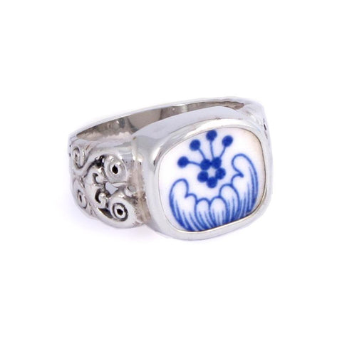 SIZE 9 Broken China Jewelry Spode Blue Italian Q Sterling Ring