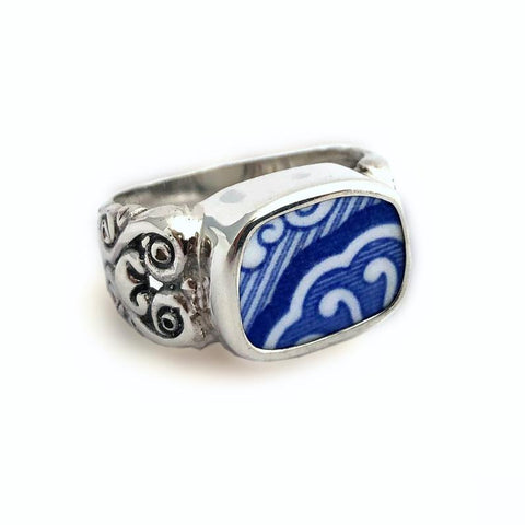 Broken China Jewelry Spode Blue Italian Scroll Sterling Ring