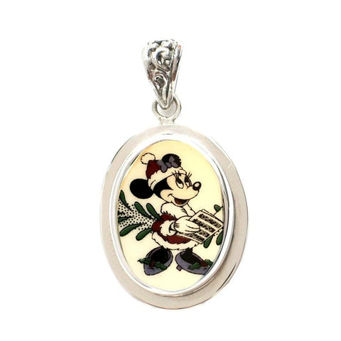 Broken China Jewelry Spode Minnie Mouse Christmas Caroling Sterling Oval Pendant
