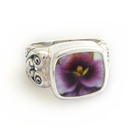 SIZE 10 Broken China Jewelry Purple Pansy Close Up Sterling Ring