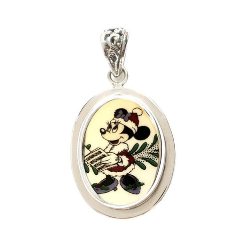 Broken China Jewelry Spode Minnie Mouse Christmas Facing Left Sterling Oval Pendant