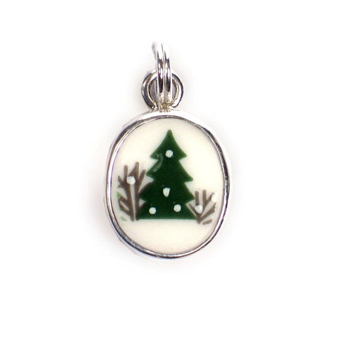 Broken China Jewelry Sleighride Dark Green Christmas Tree Sterling Holiday Winter Oval Charm