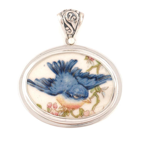 Broken China Jewelry Vintage Fluffy Blue Bird Bluebird Sterling Oval Pendant