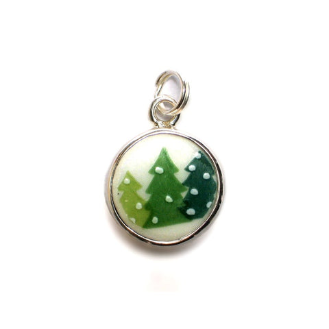 Broken China Jewelry Sleighride Christmas Tree Sterling Holiday Winter Circle Charm