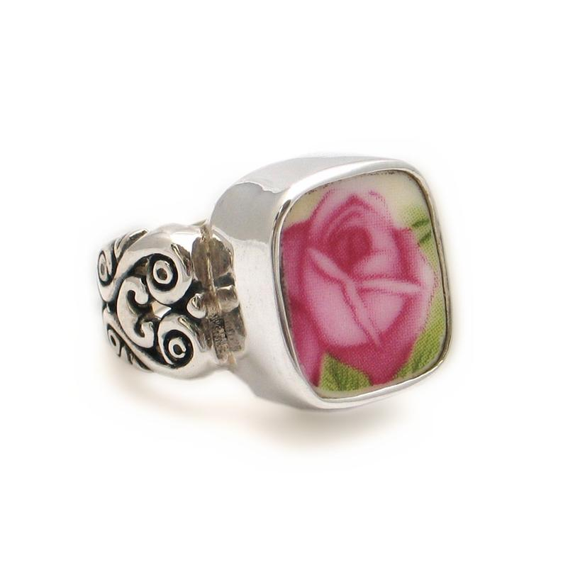 Size 7 Broken China Jewelry Old Country Roses Pink Rose Sterling Ring