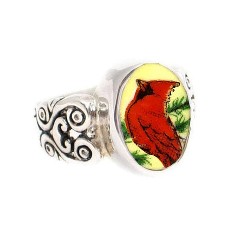 SIZE 9 Broken China Jewelry Cardinal Red Bird Redbird Sterling Oval Ring Ring