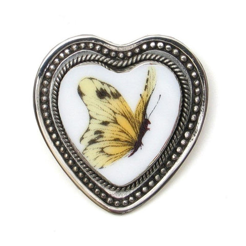 Broken China Jewelry Sterling Silver Brooch Pin Pendant Yellow Butterfly