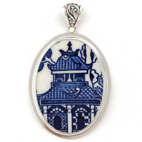 Broken China Jewelry Churchill Blue Willow Pagoda - Very Large - Sterling Pendant