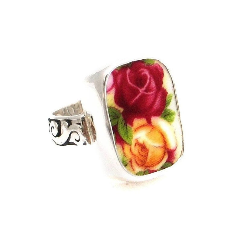 SIZE 6.5 Broken China Jewelry Old Country Roses Double Bud Sterling Thin Band Ring