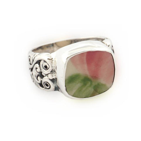 SIZE 8 Broken China Jewelry Franciscan Desert Rose Pink Rose B Sterling Ring