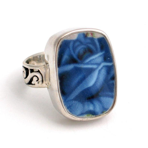 SIZE 8 Broken China Jewelry Moonlight Roses Dark Blue Sterling Ring