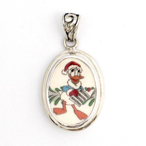 Broken China Jewelry Spode Donald Duck Christmas Caroling Sterling Oval Pendant