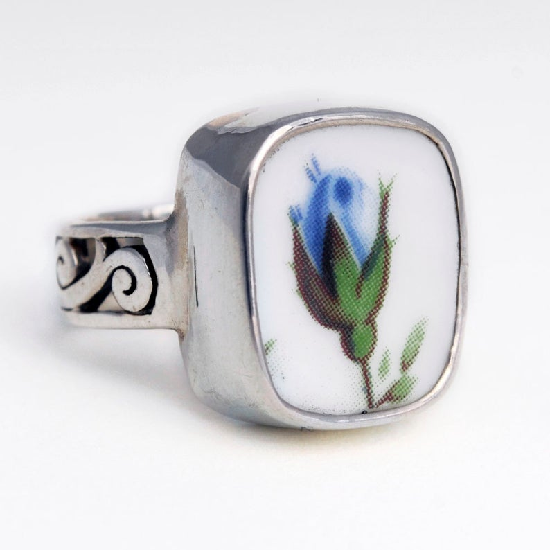 SIZE 7 Broken China Jewelry Blue Moonlight Roses Small Bud Sterling Silver Ring