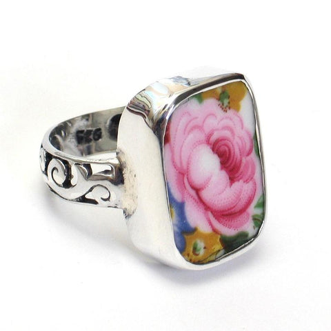 Broken China Jewelry Lady Carlyle Pink Rose Sterling Ring