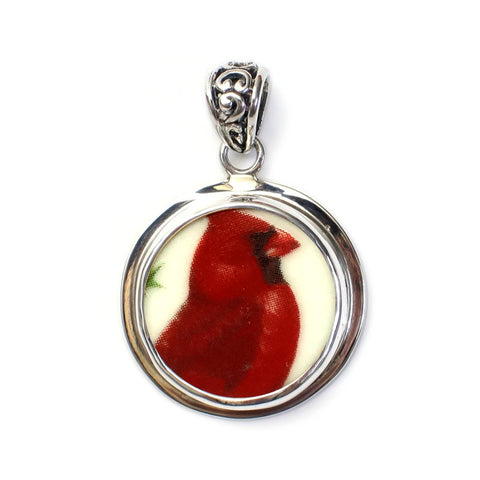 Broken China Jewelry Red Bird Cardinal Sterling Circle Pendant