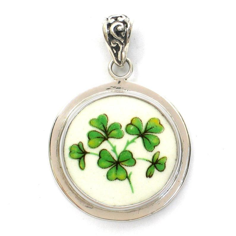 Broken China Jewelry Green Irish Shamrock Clover Sterling Circle Pendant