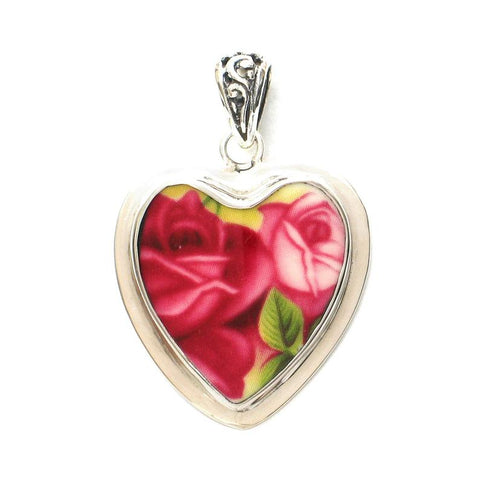 Broken China Jewelry Old Country Roses Double Red Pink Rose Sterling Heart Pendant
