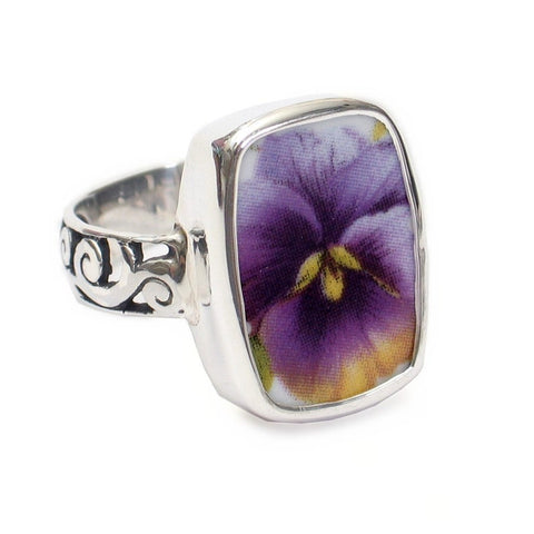 Broken China Jewelry Purple Pansy Flower Close Up Sterling Ring