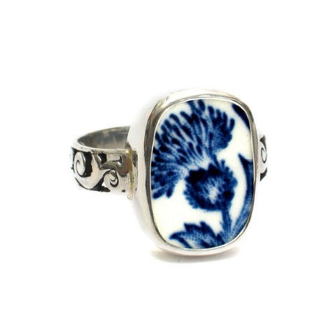 SIZE 11.5 Broken China Jewelry Royal Warwick Lochs of Scotland Blue Thistle Flower B Sterling Ring