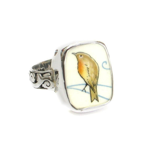 Broken China Jewelry Beatrix Potter Robin Bird Sterling Ring