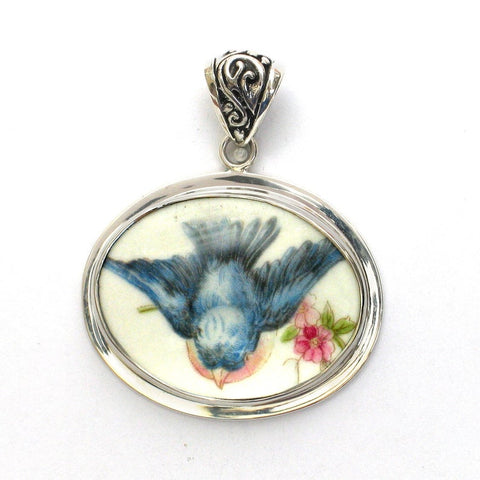 Broken China Jewelry Vintage Fluffy Bluebird A in Flight Sterling Horizontal Oval Pendant