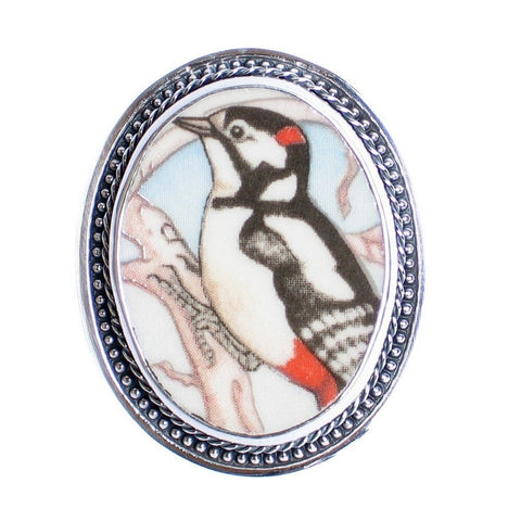 Broken China Jewelry Wedgwood Garden Birds Great Spotted Woodpecker Sterling Brooch Pin