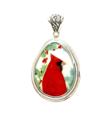 Broken China Jewelry Cardinal Red Bird w Holly Sterling Large Drop Pendant