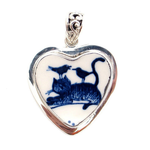 Broken China Jewelry Folk Art Cat & Birds Sterling Heart Pendant