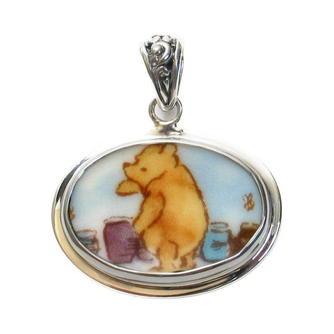 Broken China Jewelry Classic Pooh Bear Winnie The Pooh with Honey Pot Jars Horizontal Oval Sterling Pendant