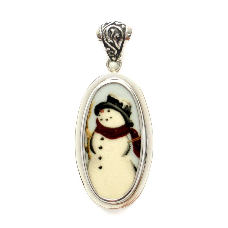 Broken China Jewelry Winter Snowman Snow Man w Hat & Scarf Sterling Tall Oval Pendant