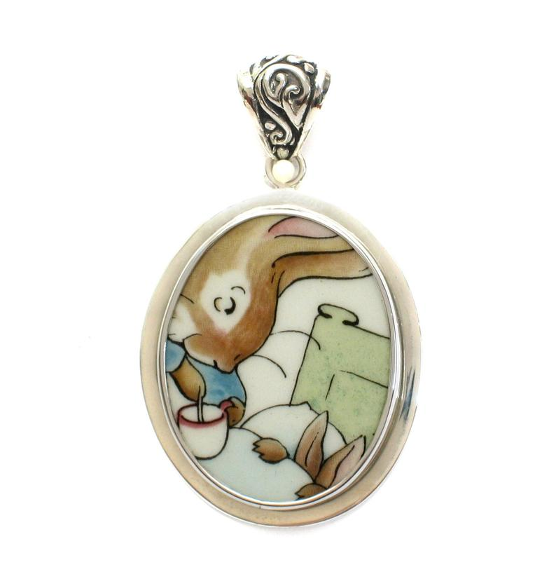 Broken China Jewelry Wedgwood Beatrix Potter Peter Rabbit Chamomile Tea in Bed Sterling Pendant