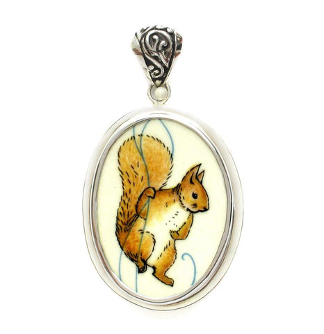 Beatrix Potter Squirrel Nutkin Broken China Jewelry Sterling Large Oval Pendant
