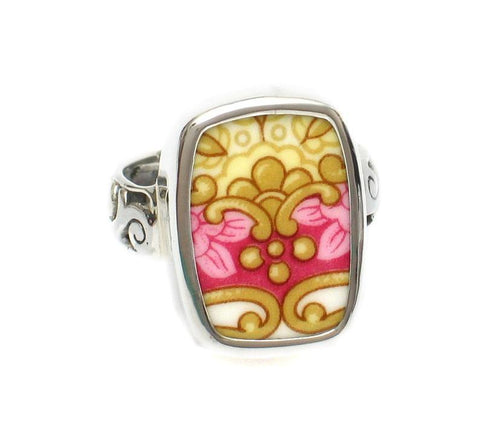 SIZE 9 Broken China Jewelry Royal Albert Lady Carlyle Pink and Gold Scroll Sterling Ring